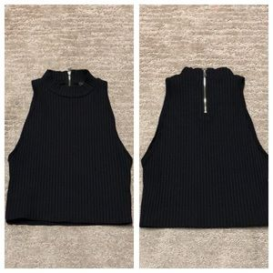 bebe Ribbed Mock Neck Cropped Tank